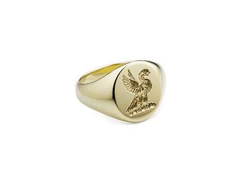 chunky crest signet ring