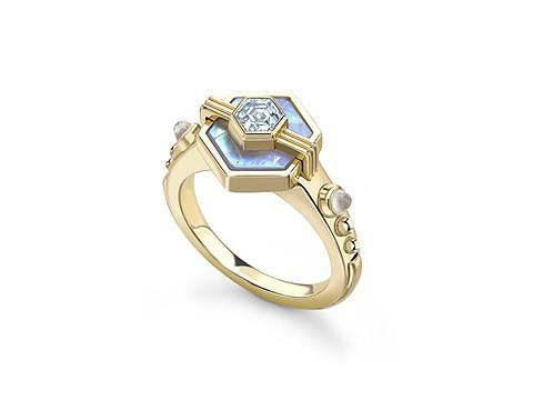 Moon stone engagement ring