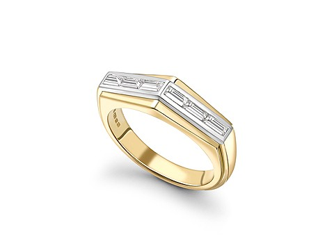flipped baguette diamond ring