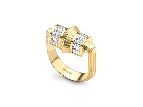 structured Art Deco engagement ring