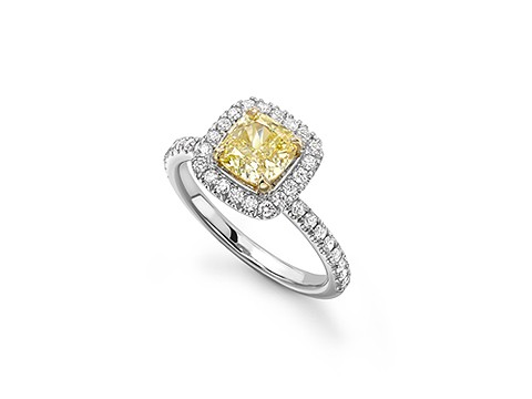 yellow diamond platinum ring
