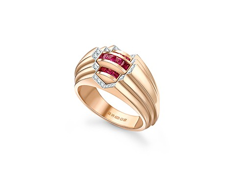 Pink sapphire stepped ring