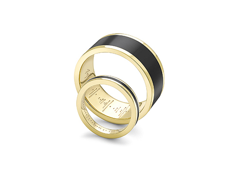 enamelled and engraved wedding bands