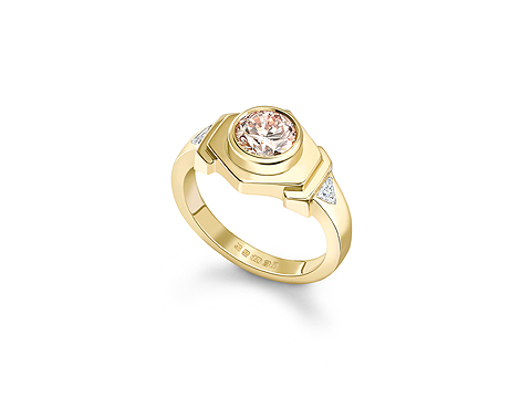 peach diamond ring