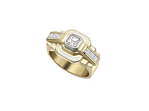 Chunky Deco stepped ring