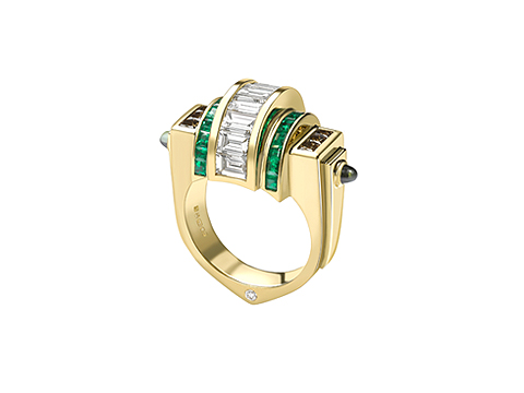 Gold bridge Deco ring