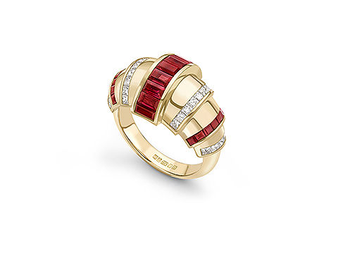 channel set baguette cut ruby ring