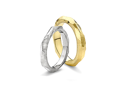Textured carved wedding band